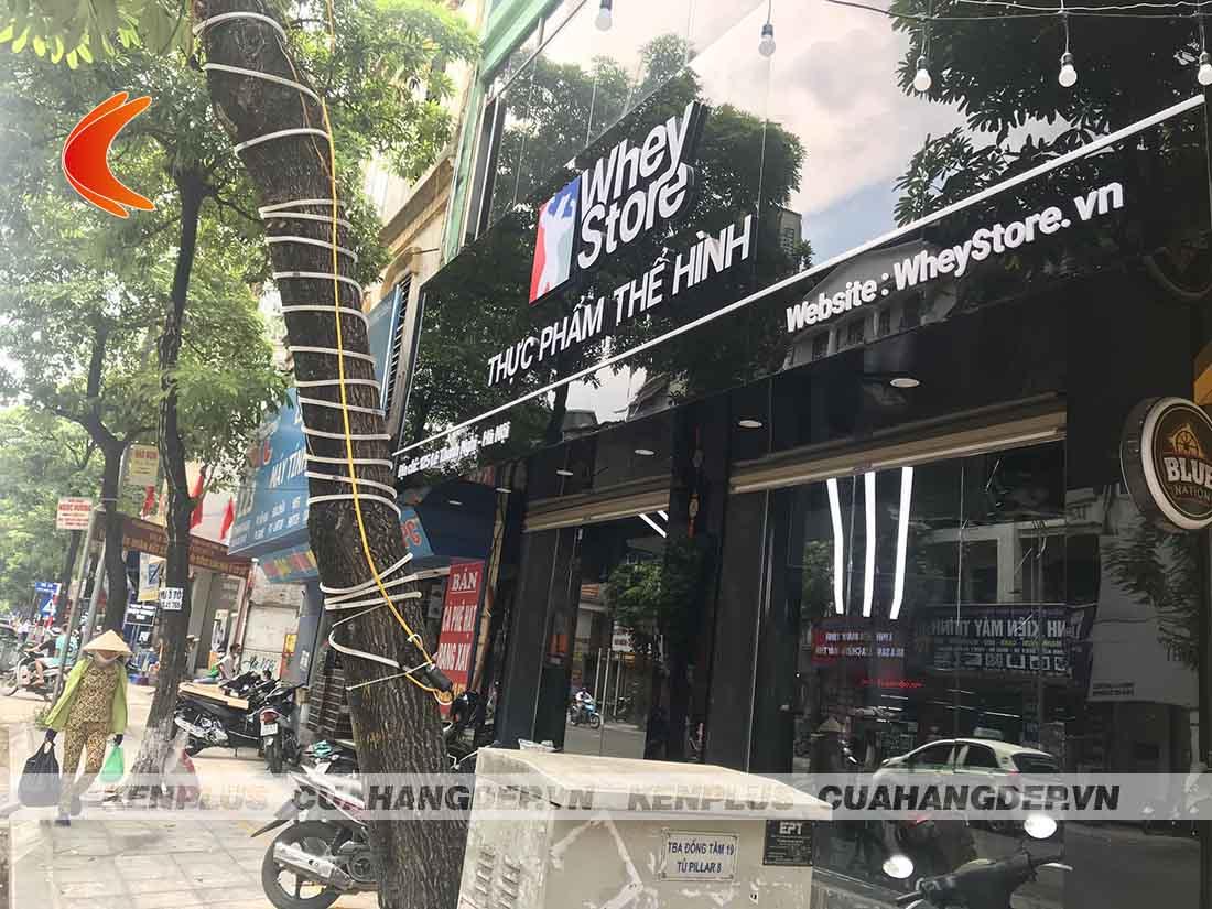 Thi công shop thực phẩm thể hình Whey Store tại Hà Nội