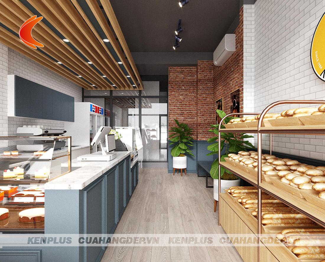 Màu ghi xanh trong thiết kế cửa hàng bánh kết hợp đồ ăn nhanh