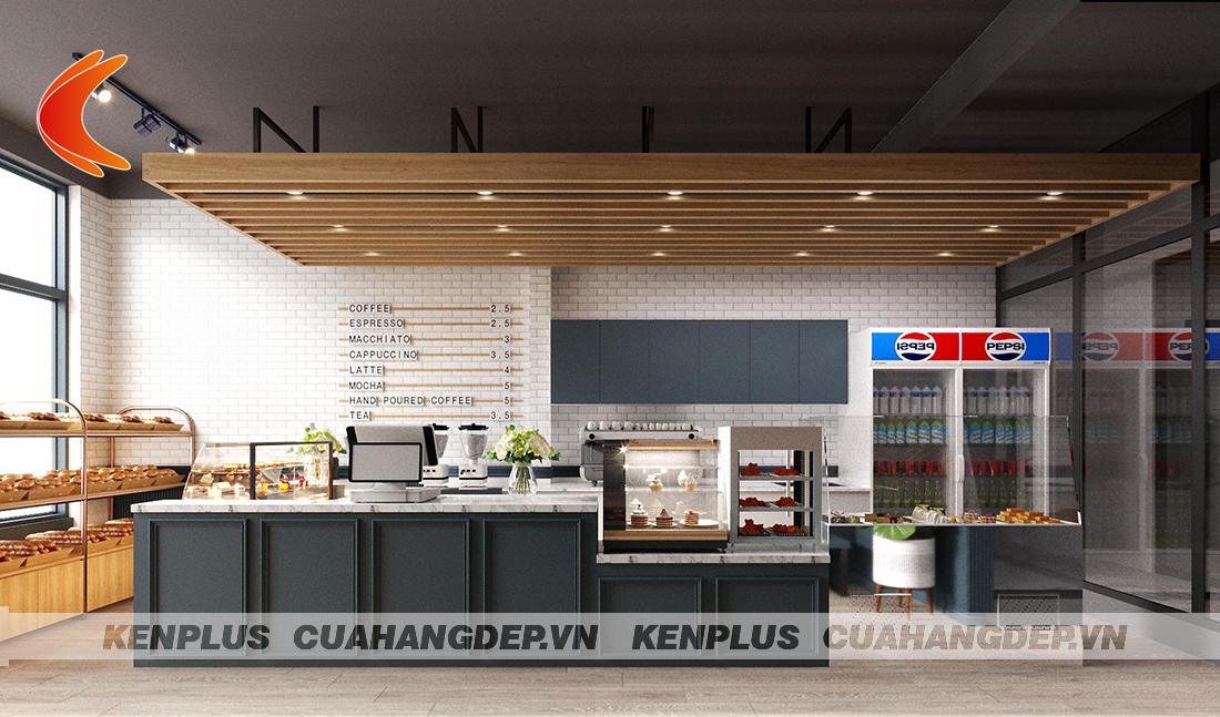 Mẫu thiết kế cửa hàng bánh kết hợp đồ ăn nhanh nhỏ đẹp