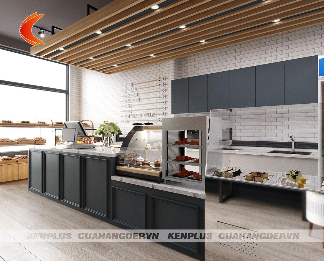 mẫu thiết kế cửa hàng bánh kết hợp đồ ăn nhanh