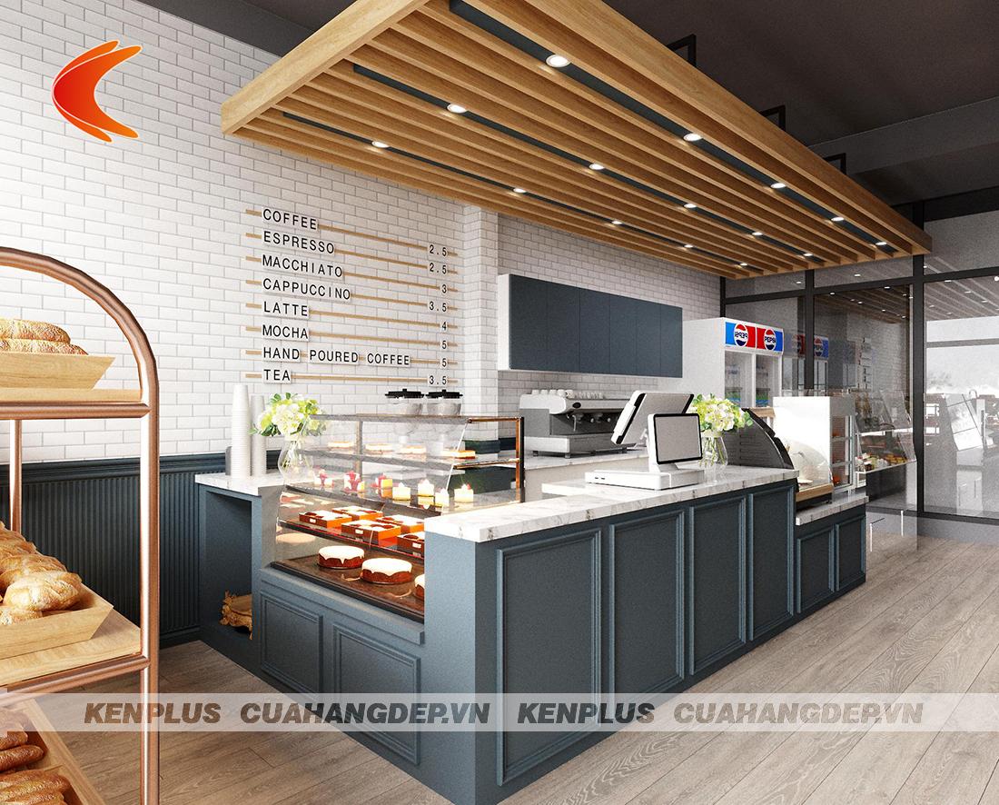 Màu sáng trong thiết kế cửa hàng bánh kết hợp đồ ăn nhanh