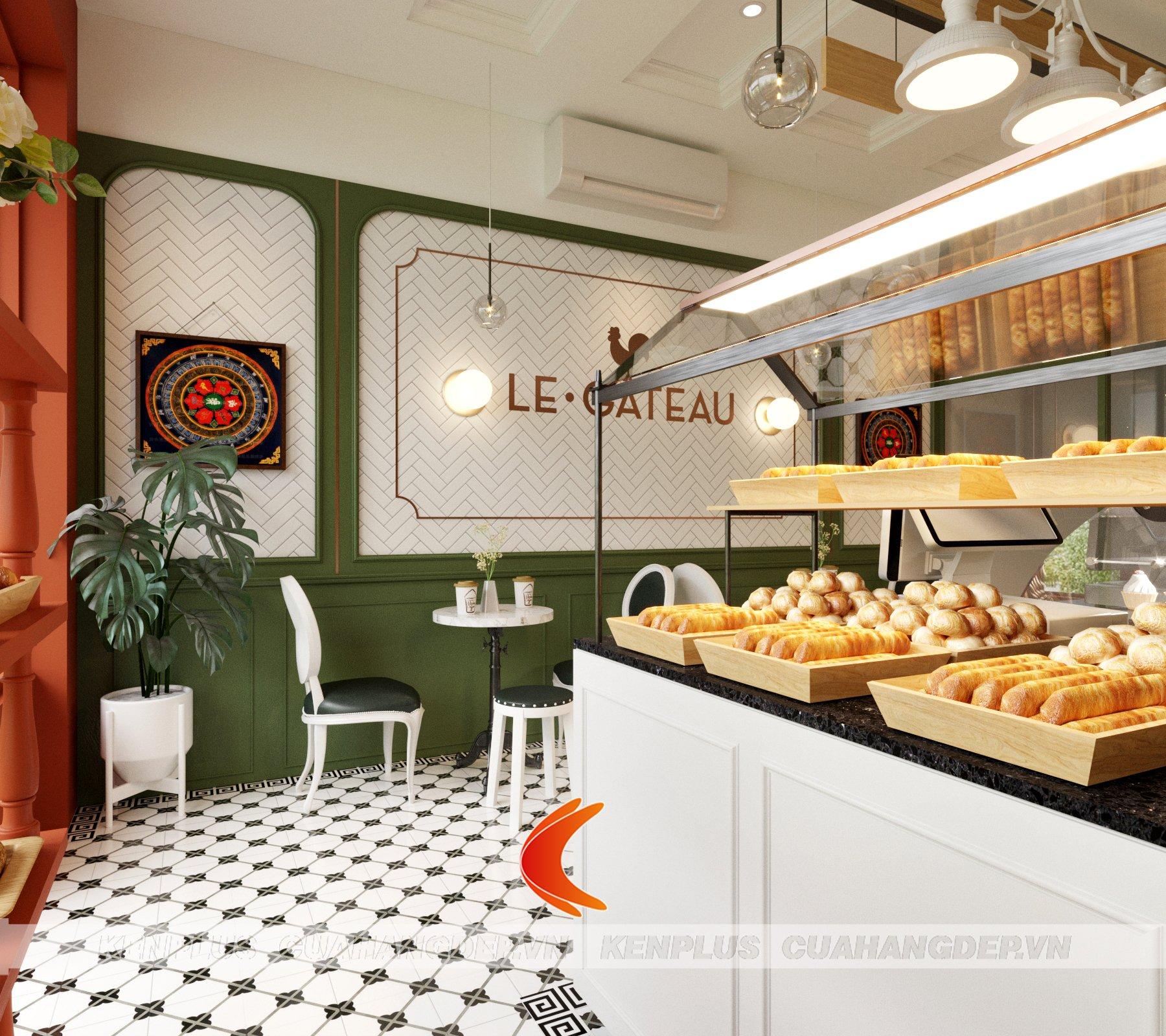 Hoa văn tối giản mà độc đáo trong mẫu thiết kế cửa hàng bánh