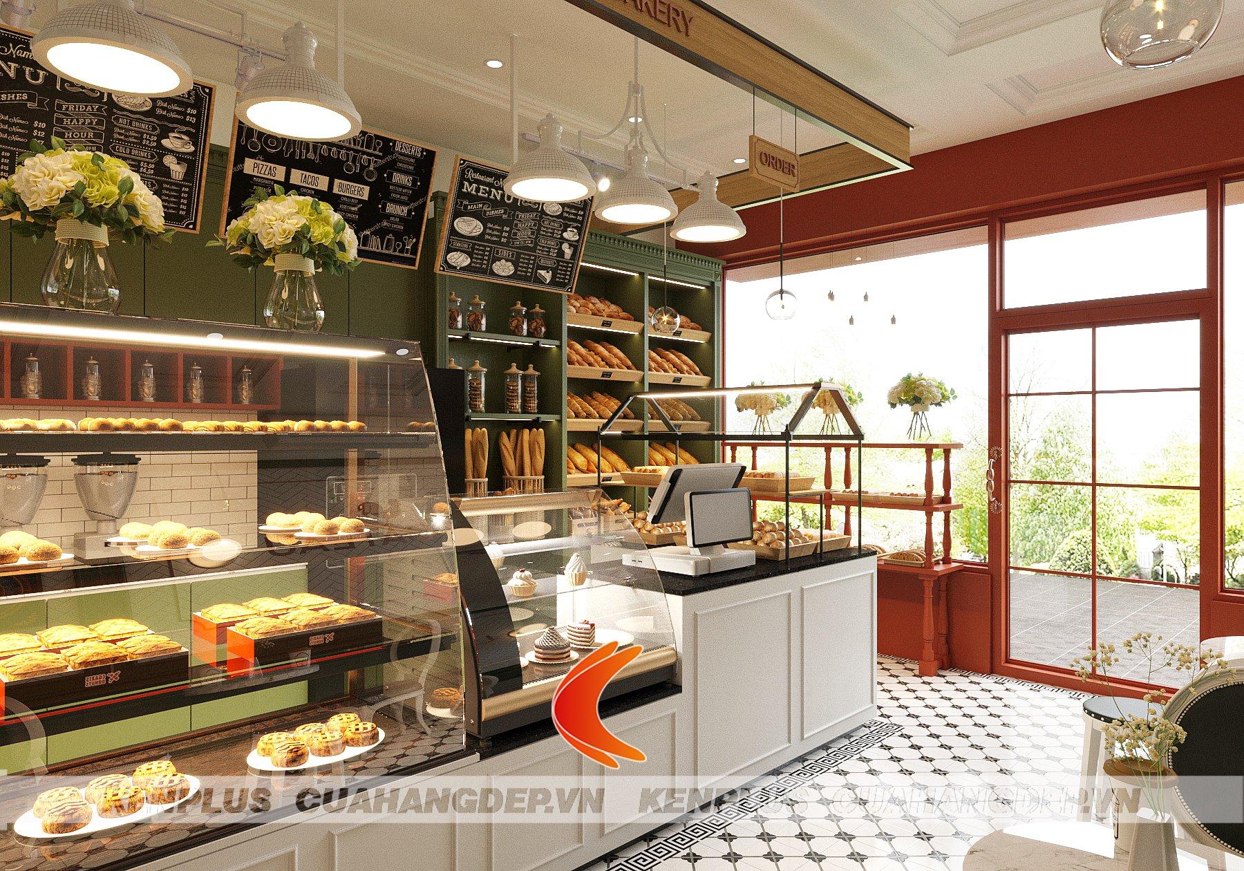 Tủ bánh đứng trong mẫu thiết kế cửa hàng bánh