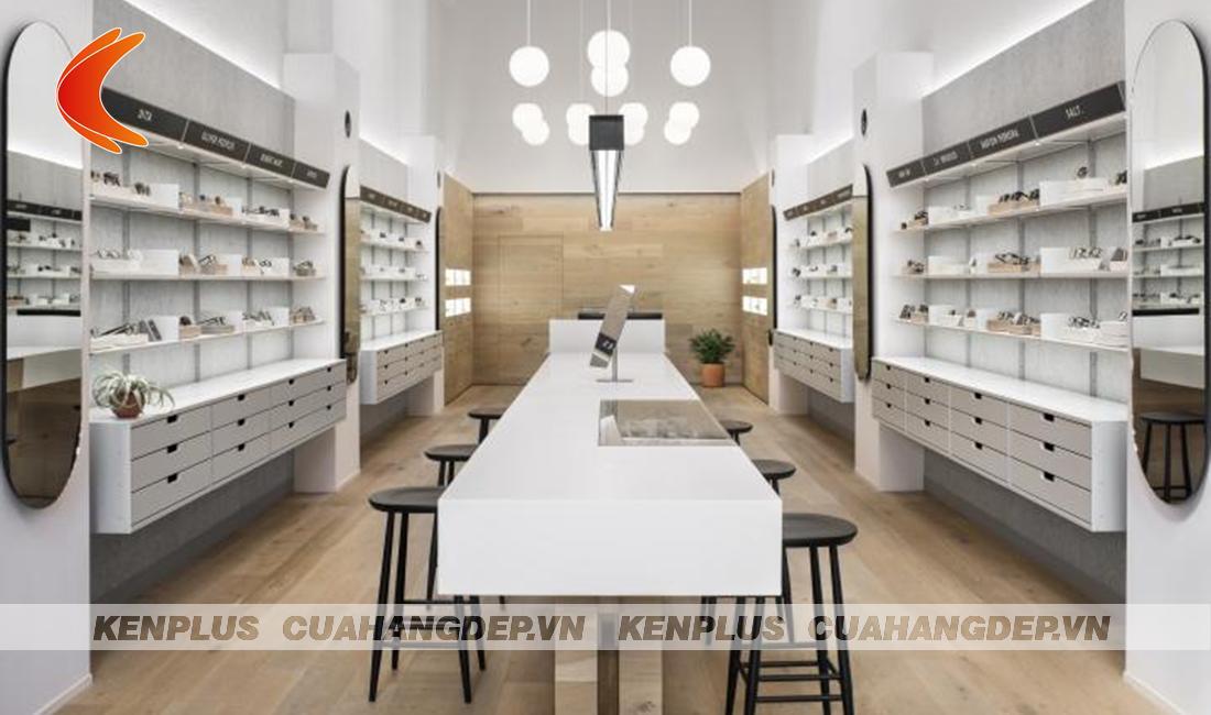 Mẫu thiết kế cửa hàng kính mắt đẹp nhẹ nhàng