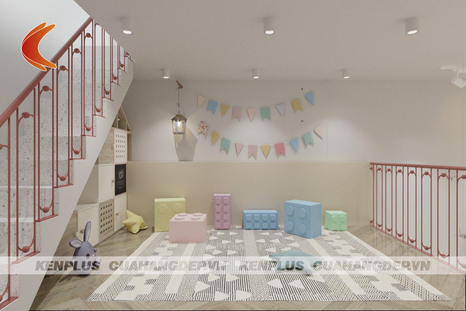 thiết kế tầng lửng đáng yêu dành cho bé