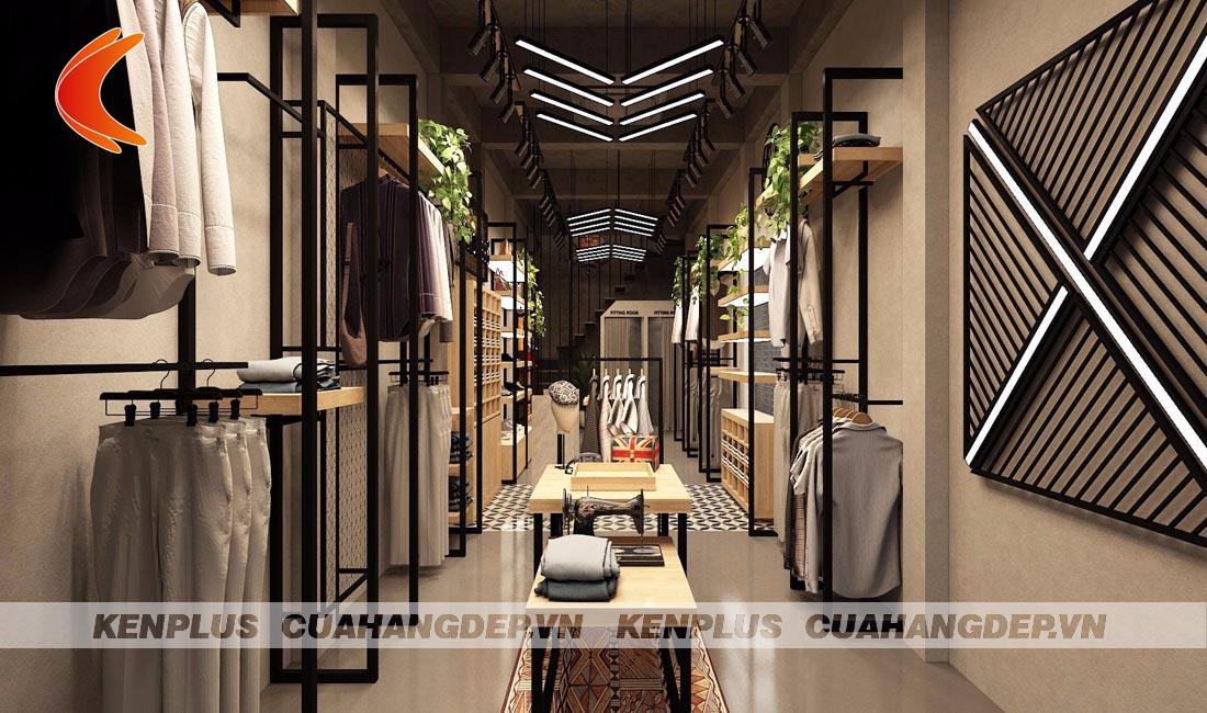 thiết kế shop thời trang với hệ thống ánh sáng tối ưu
