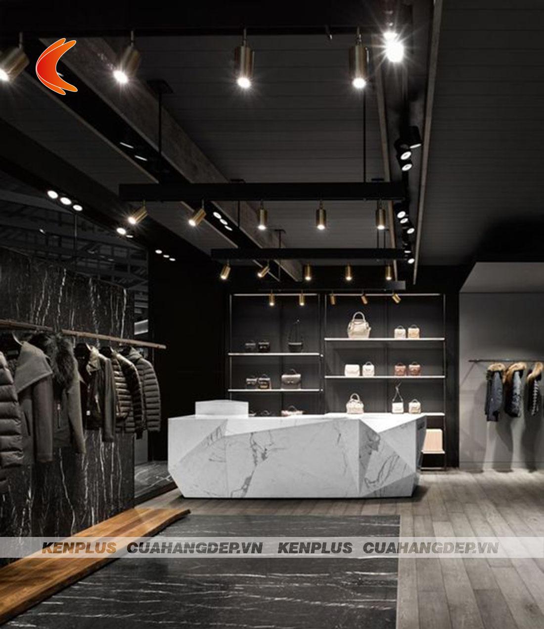 thiết kế shop quần áo nữ phong cách industrial