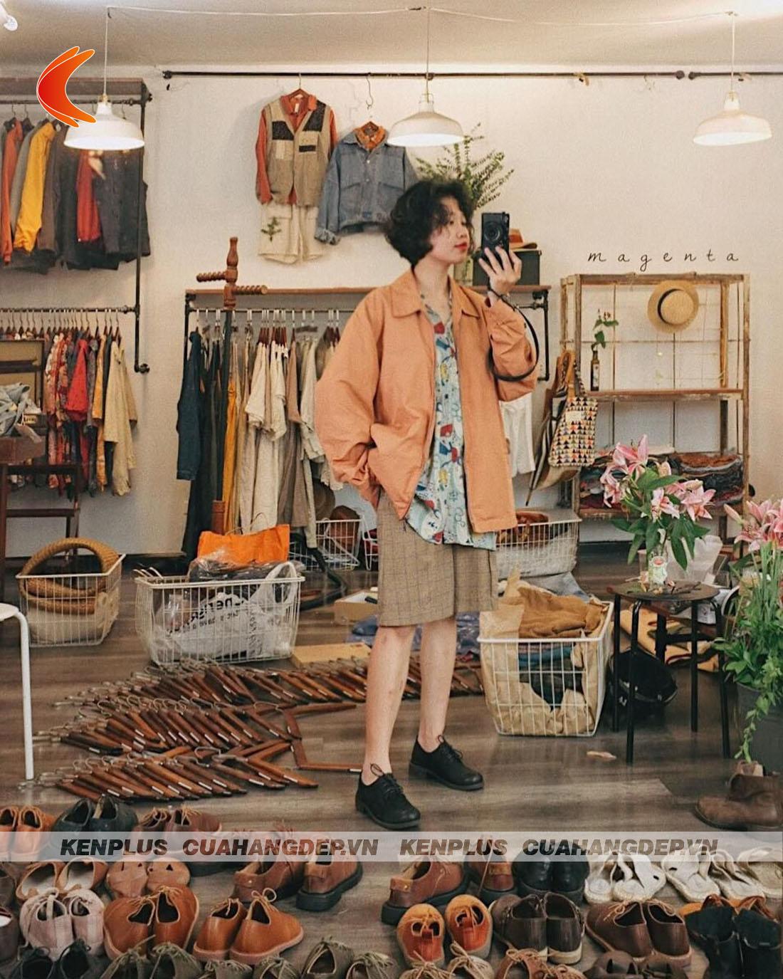 thiết kế shop quần áo phong cách vintage