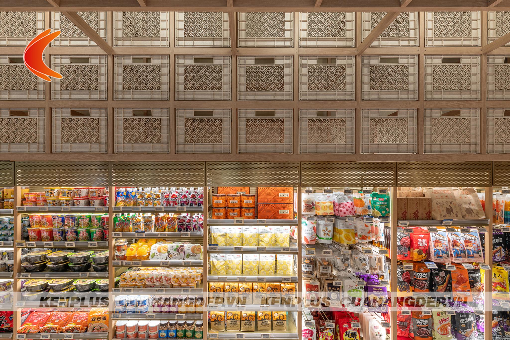 thiết kế siêu thị mini bằng gỗ