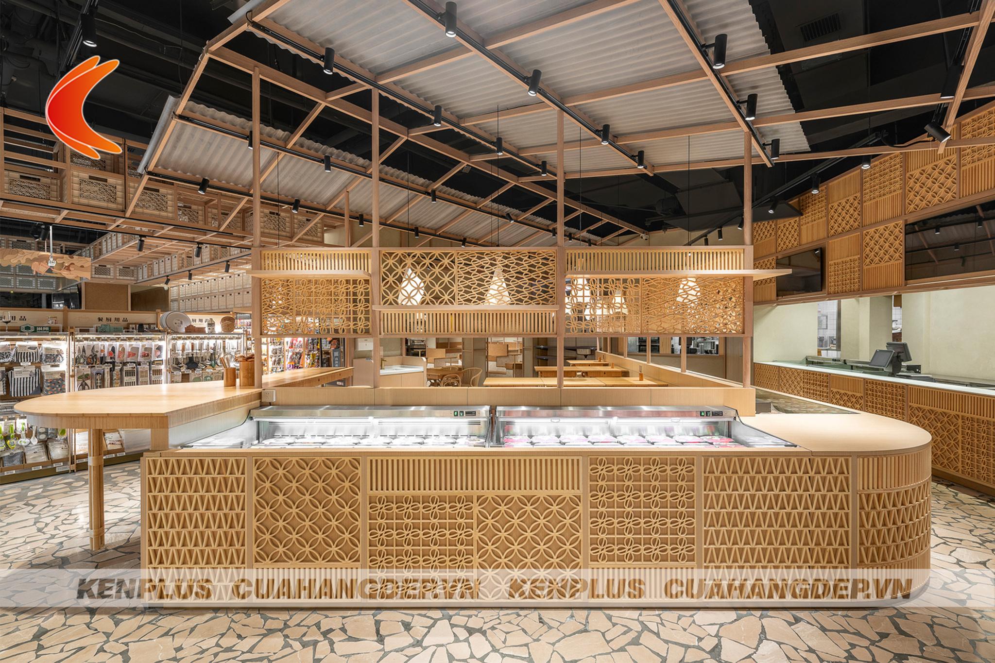 concept thiết kế siêu thị mini bằng gỗ